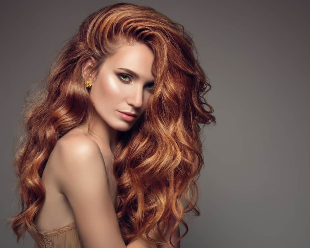 Redhead with Curly Long Hair by Mark James Hair Studio